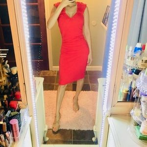 Cache stretchy sleeveless red dress size s